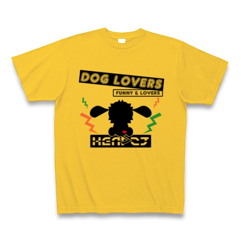 【HEAR2T】DOG LOVERS-COLOR Tシャツ (ゴールドイエロー)